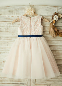 A-Line/Princess Scoop Neck  Lace Flower Girl Dresses