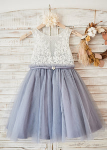 Tulle Short Appliques Lace Flower Girl Dresses