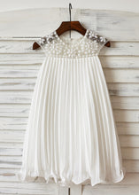 A-Line/Princess   Beading White Flower Girl Dresses