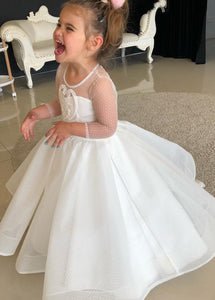 White Scoop Neck  Appliques Lace Flower Girl Dresse