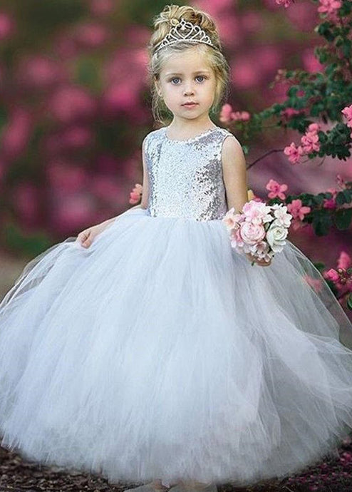 Tulle Sequined Floor-Length Flower Girl Dresses