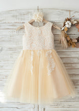 Lace Tulle Sleeveless Flower Girl Dresses