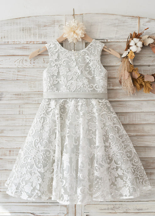Lace Sleeveless Scoop Neck  Bow(s)  Flower Girl Dresses
