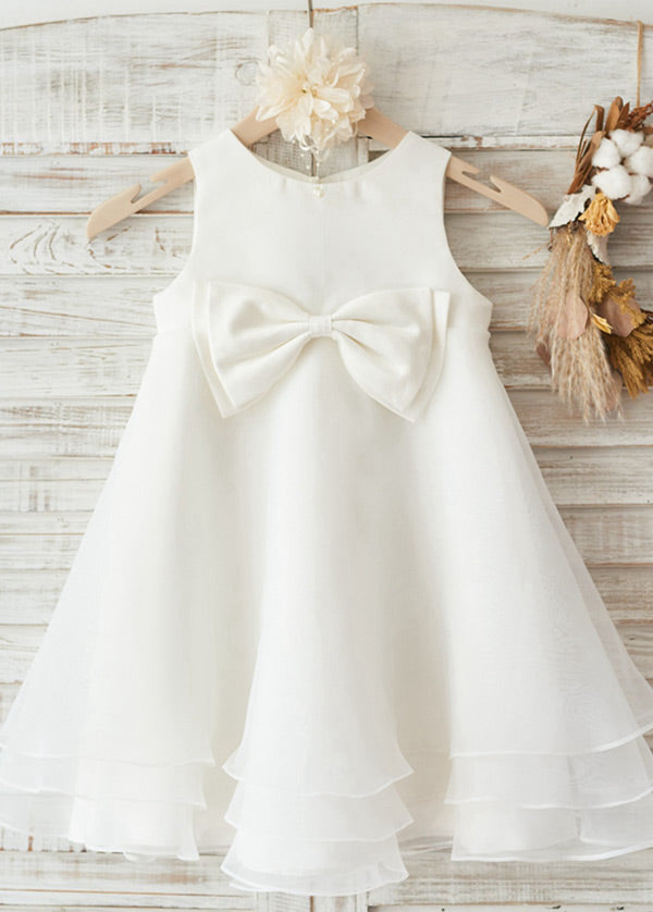 Scoop Neck Tulle Flower Girl Dresses with Bow