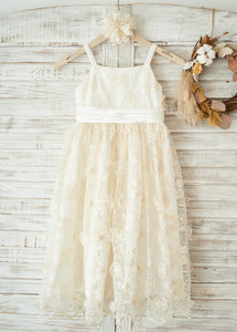 Spaghetti Straps Lace Flower Girl Dresses