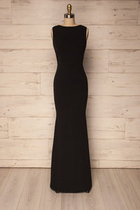 Sleeveless Black Scoop Neck Long Bridesmaids Dresses