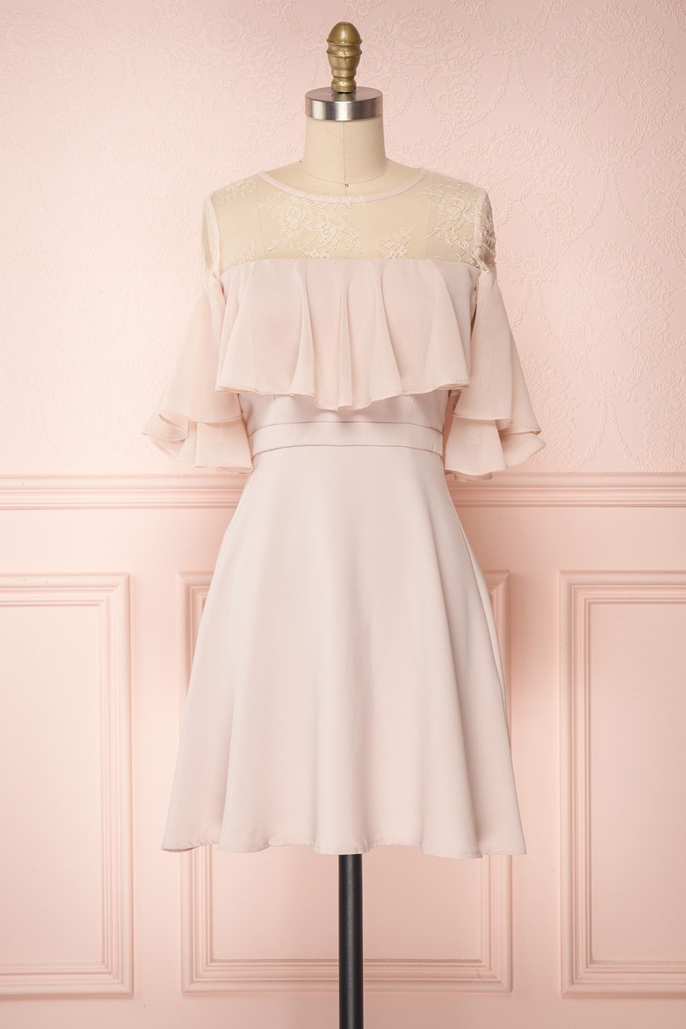 Chiffon 3/4 Sleeves Appliques Lace Bridesmaids Dresses