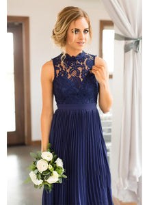 Lace Scoop Neck Sleeveless Bridesmaids Dresses