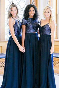 Chiffon Sleeveless Sequined Bridesmaids Dresses
