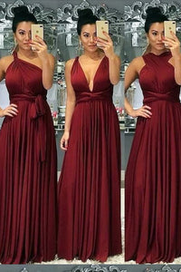 Burgundy A-Line/Princess Chiffon Bridesmaids Dresses