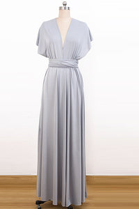 V-neck Chiffon Long Convertible Bridesmaids Dresses