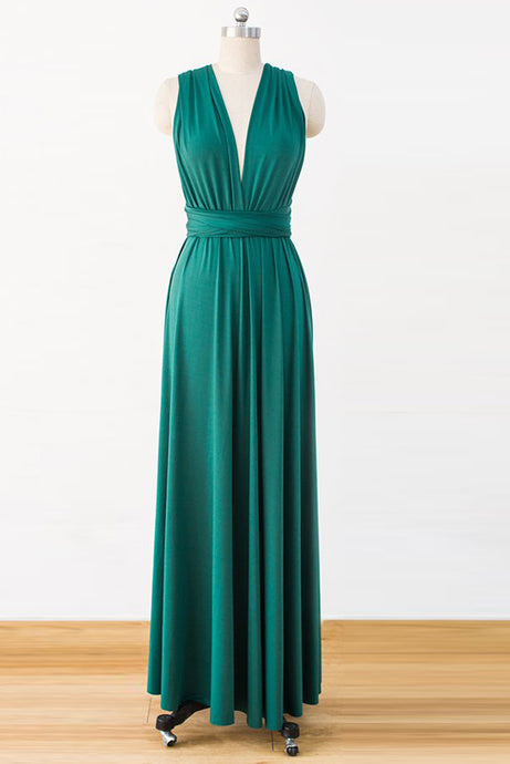 Green Floor-Length Chiffon Bridesmaids Dresses