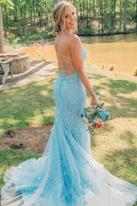 Trumpet/Mermaid Spaghetti Straps Lace Long Prom Dresses