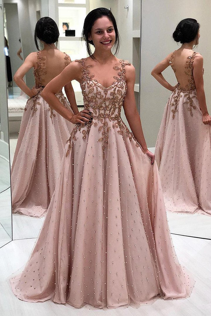 A-Line/Princess Sweetheart  Satin Long Prom Dresses