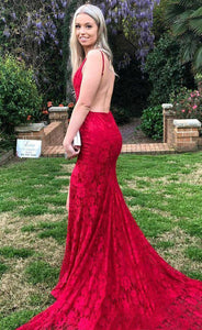 Red Sweep Train Lace Trumpet/Mermaid Prom Dresses