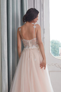 Tulle A-Line/Princess Appliques Lace  wedding dresses