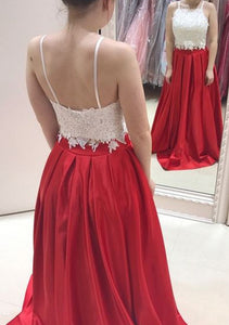 A-Line/Princess Lace Sleeveless Prom Dresses