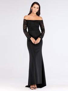 Black Off-the-Shoulder Long Sleeves Prom Dresses