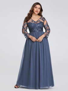 Chiffon Long Sleeves V-neck Appliques Lace Prom Dresses