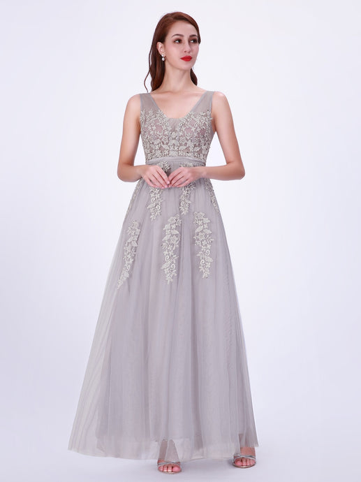 Tulle  Appliques Lace Floor-Length Prom Dresses