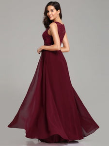 Burgundy  Chiffon Scoop Neck Lace Evening Dresses