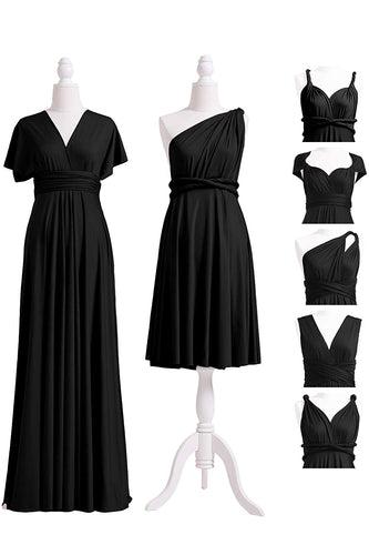 A-Line/Princess Black Convertible Long Bridesmaids Dresses