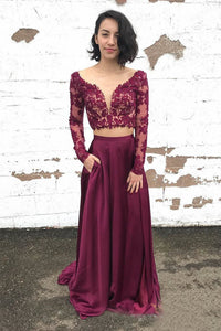 A-Line/Princess Lace Long Sleeves Evening Dresses