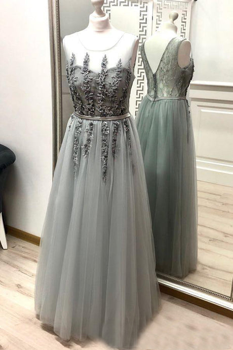Scoop Neck Floor-Length Tulle Sleeveless Evening Dresses