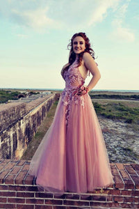 Halter Open Back  Tulle Appliques Lace Prom Dresses