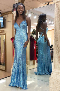 Trumpet/Mermaid  Sequined V-neck African American Prom Dresses