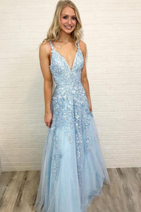 Tulle New V-neckTulle Appliques Lace Prom Dresses