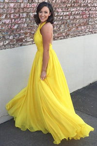 Chiffon Yellow Halter  Long Bridesmaids Dresses