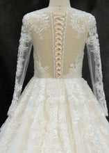 Tulle Long Sleeves Lace Sweep Train Wedding Dresses
