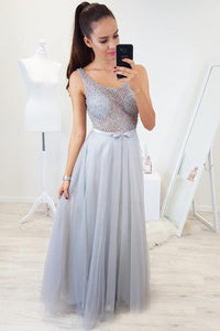 Sexy Floor-Length Beading Tulle Prom Dresses