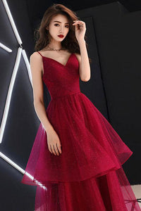 V-neck Red Spaghetti Straps Prom Dresses
