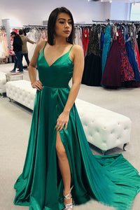 Green Satin A-Line/Princess  Sweep Train Long Prom Dresses