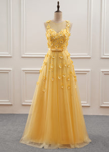 A-Line/Princess Floor-Length Sweetheart Flower(s) Prom Dresses