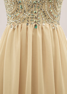 Sequined  Spaghetti Straps Chiffon Long Prom Dresses