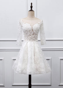 Sweetheart Lace Short Long Sleeves Wedding Dresses