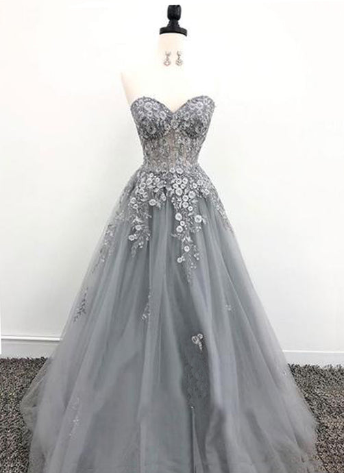 A-Line/Princess Floor-Length Tulle Prom Dresses