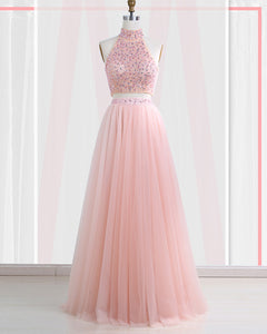 Floor-Length Tulle Sleeveless Prom Dresses