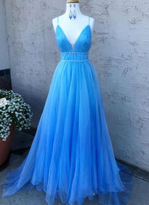 Blue Sleeveless V-neck Prom Dresses