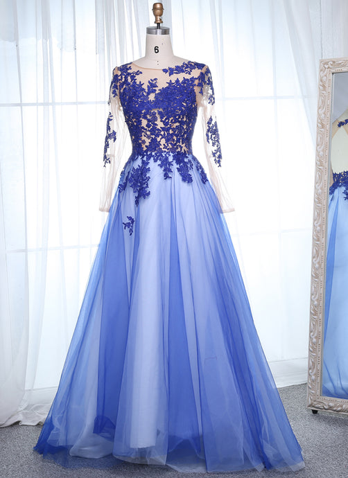Scoop Neck Long Sleeves  Appliques Lace Prom Dresses
