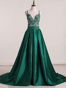 Green Sweep Train Satin Open Back Prom Dresses