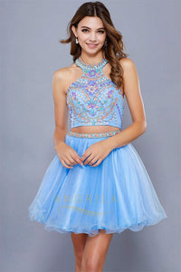 A-Line/Princess High Neck Cocktail Dress With Beading Sequins