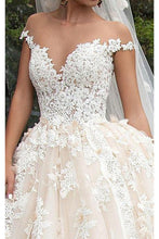 Ball-Gown/Princess V-neck Off-shoulder Chapel Train Tulle Wedding Dress With Lace