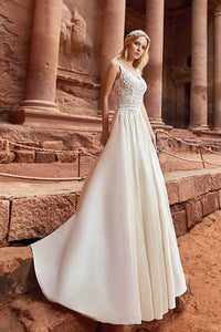 Elegant Straps Lace Top Satin Beach Wedding Dresses
