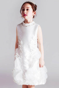 Sleeveless Sheath Satin & Tulle Flower Girl Dresses