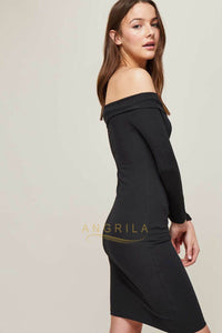 Sexy Black Evening Dress with sleeves