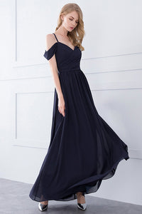 Off-the-Shoulder Long Chiffon Bridesmaid Dresses
